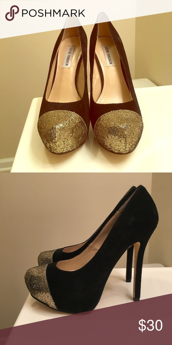 Steve Madden black heel with golden toe Gently worn Steve Madden heels with gold toe that adds a nice touch. Cute with black dress/outfit Steve Madden Shoes Heels