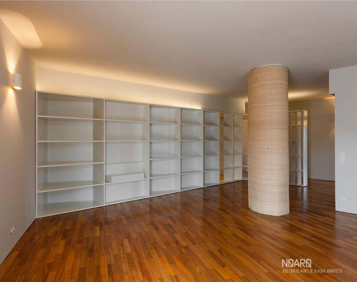 NO APARTMENT - Living room - #noarq # renovation #living #shelves #greydesign #whitedesign #woodfloor - by José Carlos Nunes de Oliveira - © NOARQ - Photography by Arménio Teixeira