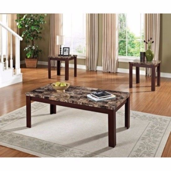 Brown Coffee Table Set 3 Piece Faux Marble Coffee U0026 End Table Set Elegant  Style #