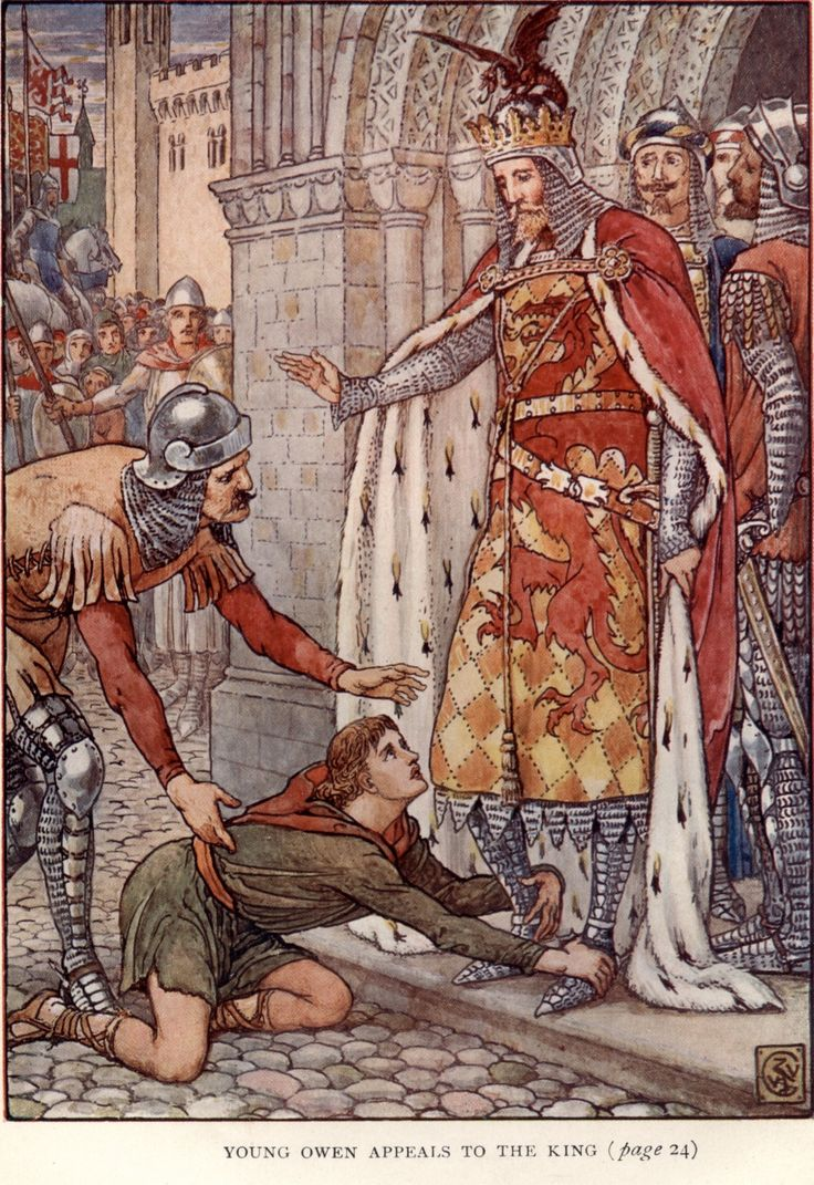 Young Owen Appeals to the King by: Walter Crane (Artist) from: King Arthur's Knights: The Tales Retold for Boys and Girls (P. Frontispiece) -  1911
