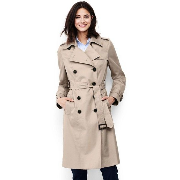 Lands' End Women's Petite Cotton Trench Coat ($159) ❤ liked on Polyvore featuring outerwear, coats, ivory, pink coat, patch coat, pink trench coat, winter white trench coat and double-breasted trench coat
