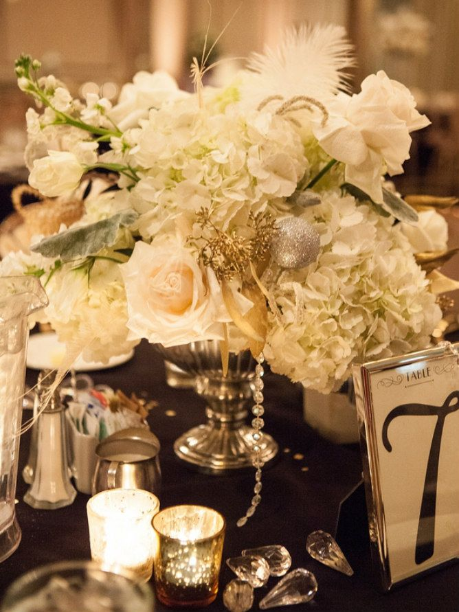 Great Gatsby Inspired Wedding Modern Jewish Table Centerpiece 1920s