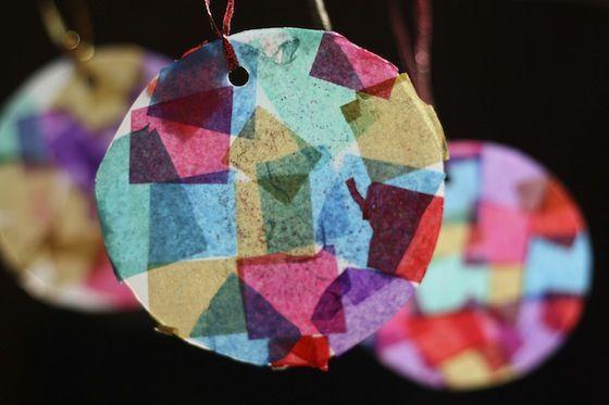 Tissue Paper Mosaic Ornaments - happy hooligans