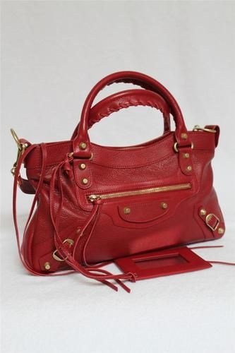 Balenciaga First, red with gold hardware