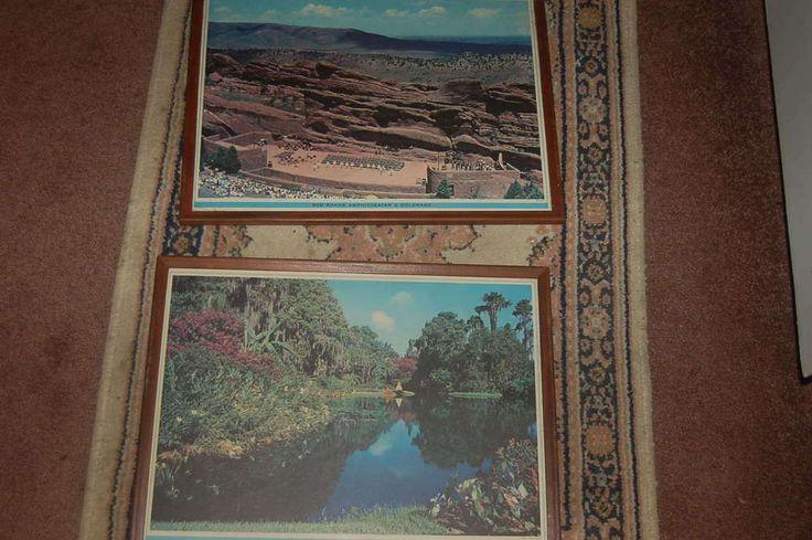 Vintage Large Framed SET~ CYPRESS GARDENS FLORIDA & RED ROCKS AMPHITHEATER 1960  | eBay