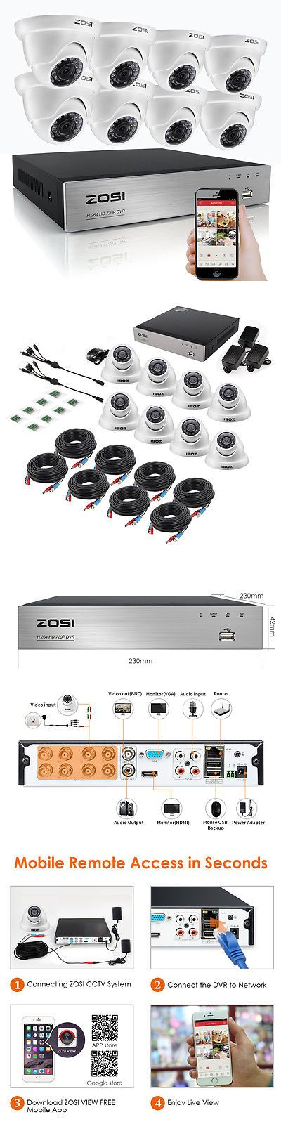 Surveillance Security Systems: Zosi 8Ch 1080N Hdmi Dvr W 8 1.0Mp Outdoor Ir Dome Home Security Camera System -> BUY IT NOW ONLY: $143.99 on eBay!