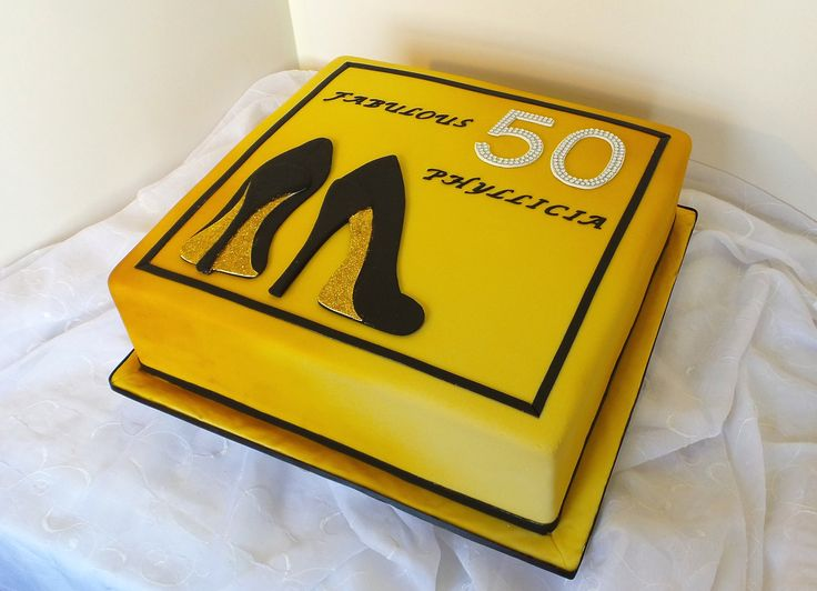 https://flic.kr/p/DH8dV6 | Golden 50th airbrushed birthday cake with 2D Fondant high heels |  Design came from invitation card.