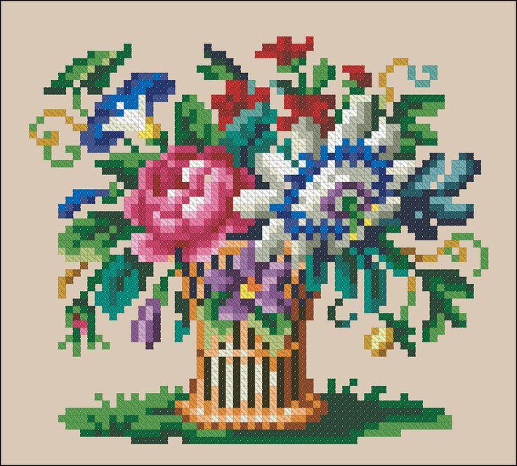Flower Baskets Cross Stitch Charts : Best images about gancedo eu on four