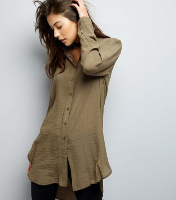 Khaki Long Sleeve Longline Shirt 22.99