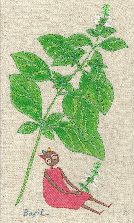 """herb no.6 """"basil"""" needlework illustration Ⓒ Nagako Ono HAPPa_Ya #embroidery #herbs"""