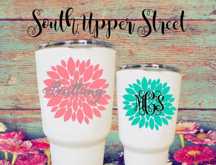 Flower monogram decal vine monogram circle monogram laptop monogram car decal yeti cup decal