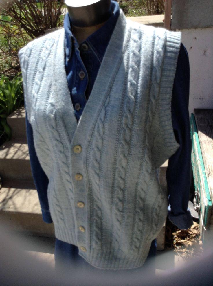 Vintage hipster 70s mens Jantzen blue sweater vest size xl free domestic shipping by mamasunbear2 on Etsy
