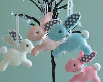 Felt Easter Bunny  Easter   Nursery Bunny  Bunny by FlossyTots