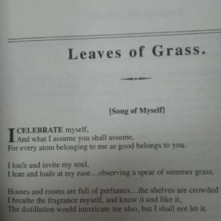 Walt Whitman's - Leaves of Grass I celebrate myself.