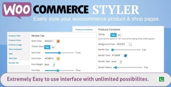 WooCommerce styler is a very powerful and easy to use plugin to style your WooCommerce site. You can easily style Shop  Product Pages individually. For example you can completely customize the look of shop pages by changing the fonts, colors, sizes, borders of buttons, badges, images, prices, texts, star rating colors and more.