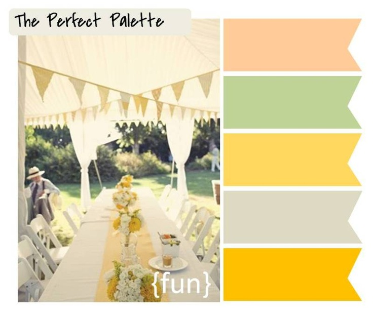 fun http://www.theperfectpalette.com/2012/02/5-festive-ways-to-use-bunting-in-your.html: Color Palettes, Perfect Palettes, Grey Yellow Green Wedding, Color Schemes, Summer Color, Color Combinations, Colour Inspiration, Colour Palettes, Summer Wedding Color Green