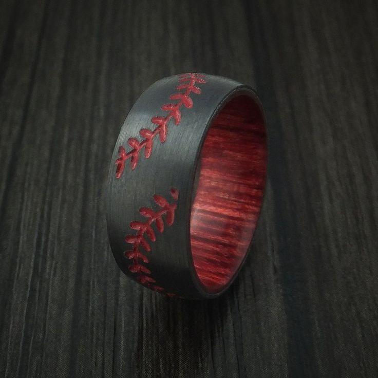Black Zirconium Double Stitch Baseball Ring with Custom Color and Hardwood Sleeve - Baseball Rings  - 4