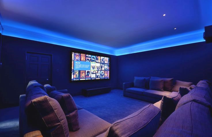 Modern Bespoke Home Cinema Room Lighting With Fabric Walls Home