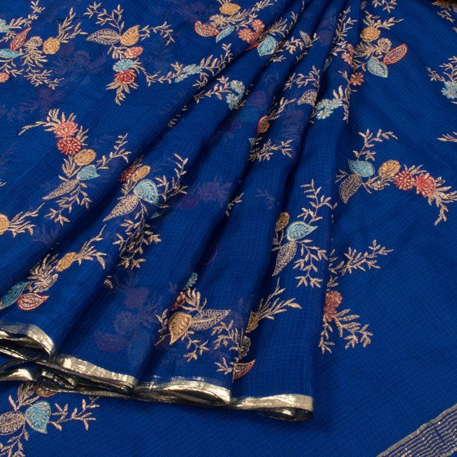 Buy online Embroidered Blue Kota Silk Saree With Floral Motifs 10015089
