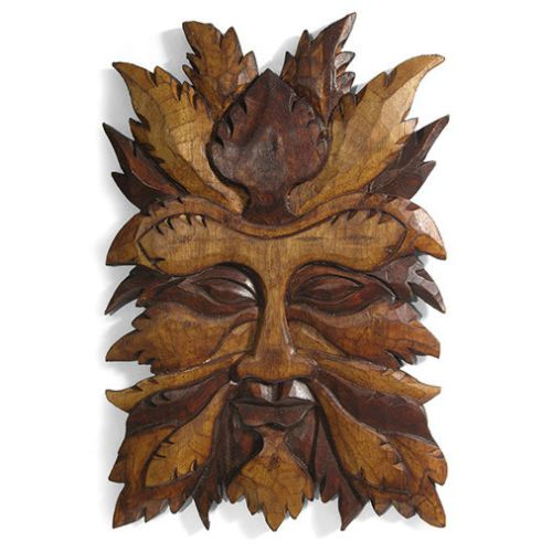 Green Man wall plaque, VERY LARGE,wood, two tone,pagan, carved, fair trade,wicca | eBay