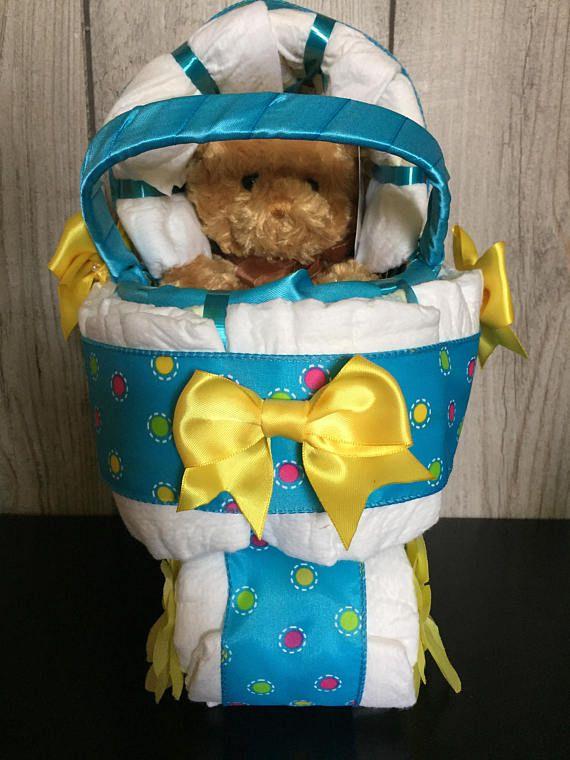Baby Boy Blue Diaper Carriage / Mini Diaper Carriage / Diaper