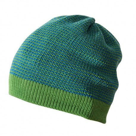 Wool beanie hat, green melange, Disana
