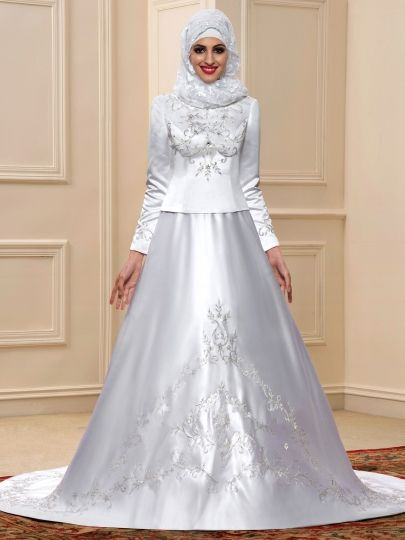 CLEARANCE.....Embroidery Matte Satin Long Sleeve A-Line Muslim Arabic Wedding Dress....Item Code: 11598502   $136.49