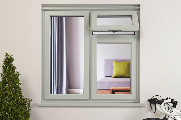 Front View Of An Olive Grey Upvc Casement Window From