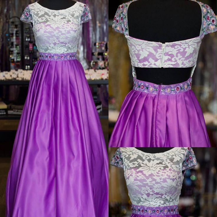 2016 Cap Sleeves Prom Dresses With Jewel Neck And Cutaway Sides Real Photos Beaded Rhinestones White Lace Purple Satin Beautiful Prom Gowns Clearance Prom Dresses Cream Prom Dresses From Nicedressonline, $148.64| Dhgate.Com