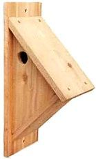 """Free Birdhouse Plans - 1 3/8"""" side entrance hole accommodates chickadees, wrens, nuthatch, & Downy woodpeckers.  This site includes plans for others, too."""