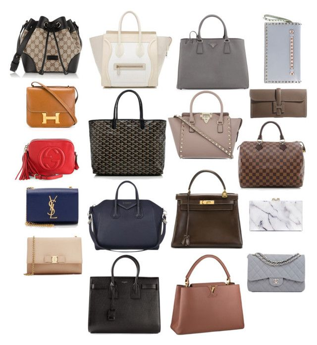 """Dream bag collection..."" by liprep ❤ liked on Polyvore featuring Gucci, CÉLINE, Yves Saint Laurent, Salvatore Ferragamo, Givenchy, Goyard, Prada, Valentino, Hermès and Louis Vuitton"