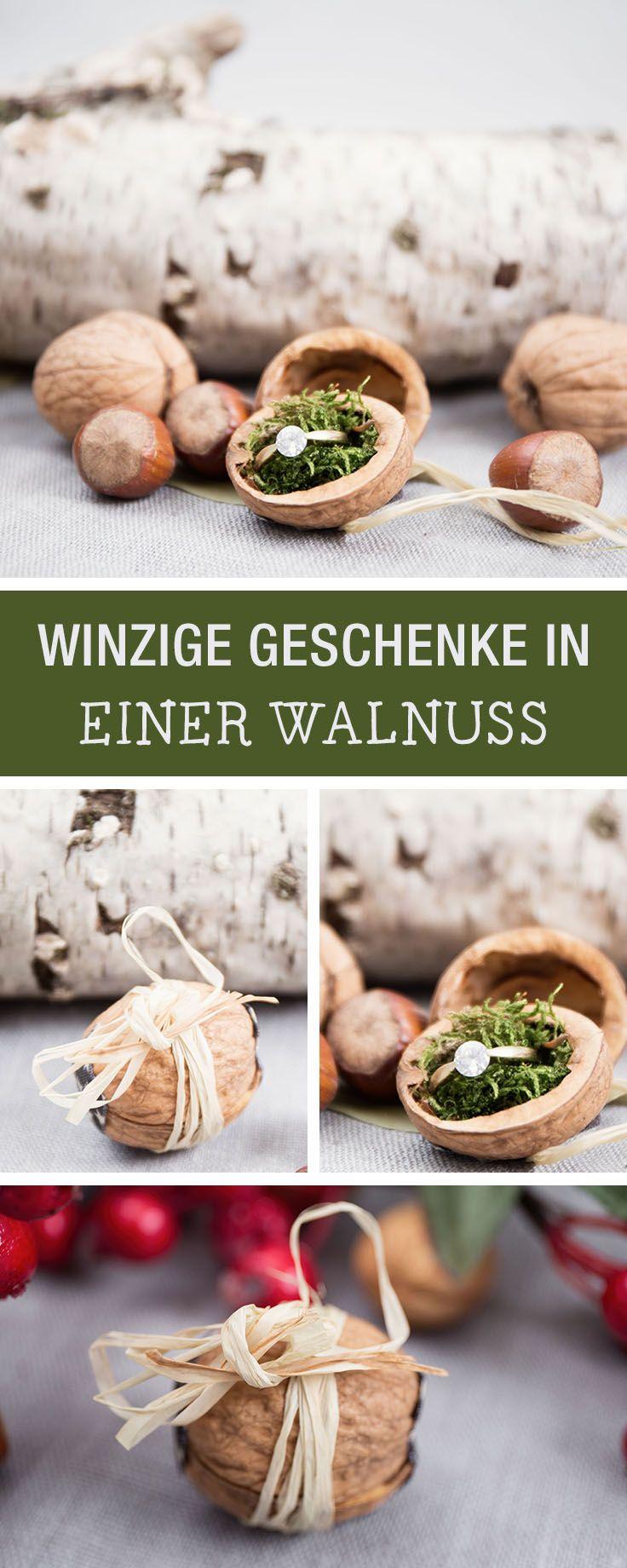 Schmuck schön verpacken: Walnuss als Geschenkverpackung nutzen / cute gift wrapping idea: use a walnut to wrap jewelry, upcycling via DaWanda.com