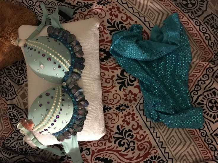 DIY rave/edc mermaid themed bra! Let me know if anyone is interested I will sell it for less than its worth because it's my first one and I want to continue making them!:)