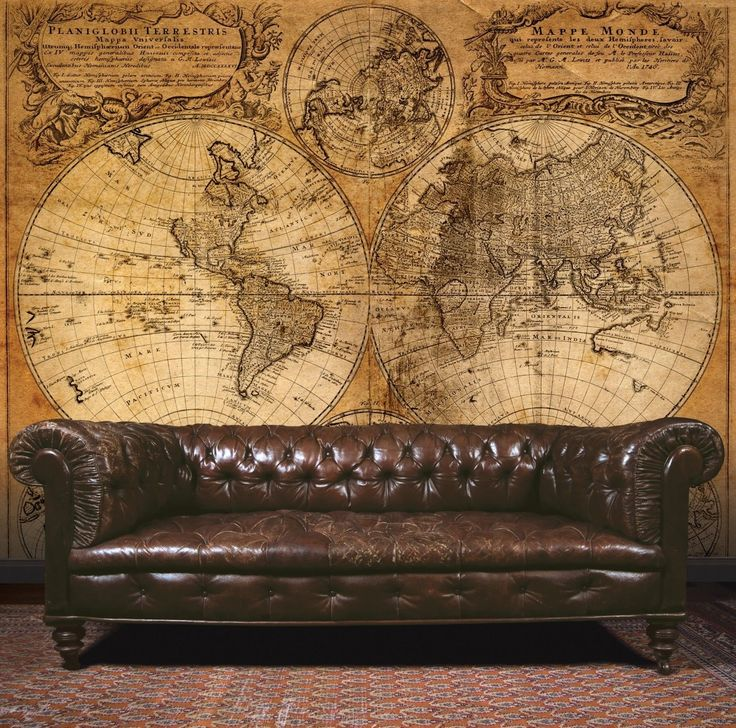 Essener Mural Wallpaper G45253 Steampunk Map Room Wall Panel Photograph Fleece