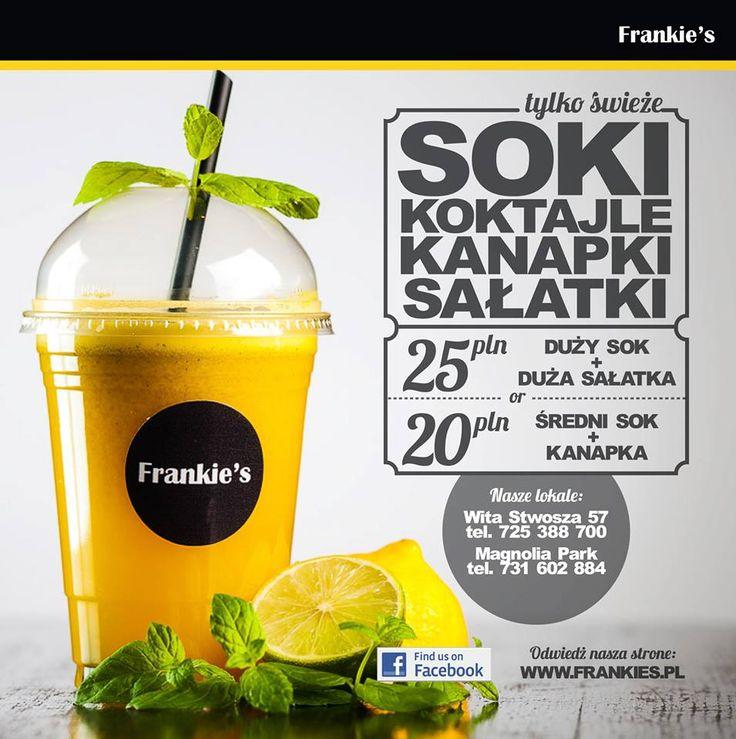 Promocja lunchowa we Frankie's! Pyszności we Frankie's: - zestaw: duża sałatka i duży sok – 25 zł - zestaw: kanapka i średni sok – 20 zł Oferta obowiązuje od 28.08. do końca września.