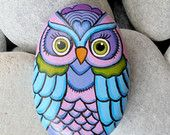 Rock Painted Colorful Owl!