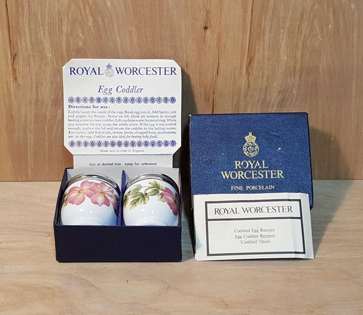 Vtg ROYAL WORCESTER PERSHORE EGG CODDLER SET of 2 ~ Original Box w/ Recipes #RoyalWorcester #Egg #Coddler #Pershore