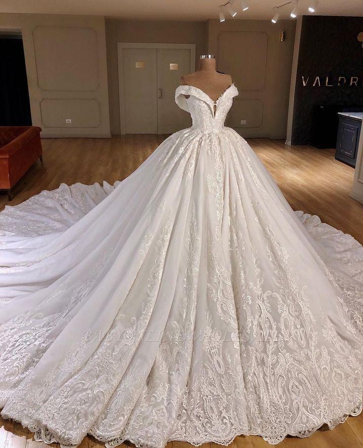 Applique Off-the-Shoulder Ball Gown Chapel Train Wedding Dresses | www.babyonlin…