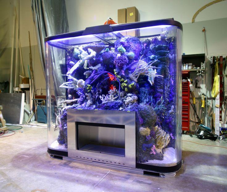 Built in saltwater tank custom drop off reef tank for Spacearium aquariums