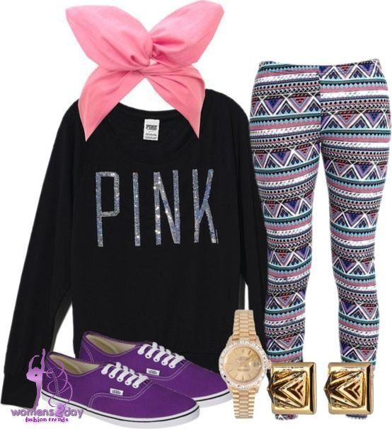 Cute PINK sweatshirt w leggings to keep you looking warm and fashionable! B