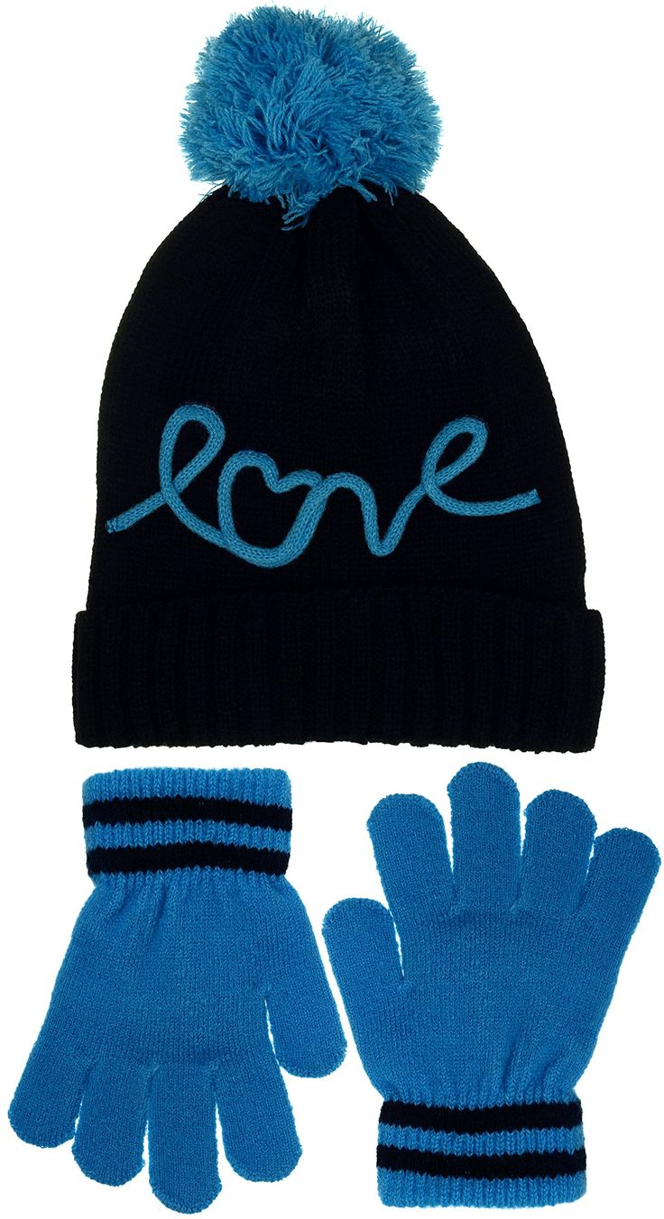 """Girls Traditional Cuffed Knit Beanie with Extra Large Pom & Gloves Set 2 Designs (LOVE). Girls Knit Cuffed Beanie & Gloves Set. Classic over the ear style with wrap around cuff and extra large pom on top. Traditional knit design for a great stretch fit and warm comfort. Matching knit gloves with 2"""" stretch knit cuffs to keep the cold out and warmth in. Available in 2 great designs and color combinations."""