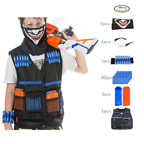 Tactical Vest Kit PeleusTech Kids Tactical Vest for Nerf with 40 Refill Darts + 2pcs 12 Dart Magazine Clips + Face Cover + Goggles + Wristband. #Tactical #Vest #PeleusTech #Kids #Nerf #with #Refill #Darts #Dart #Magazine #Clips #Face #Cover #Goggles #Wristband
