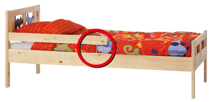 metal rod connecting the guardrail to the bed frame can break