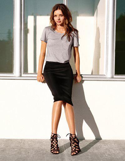Grey tee, black skirt, lace up heels