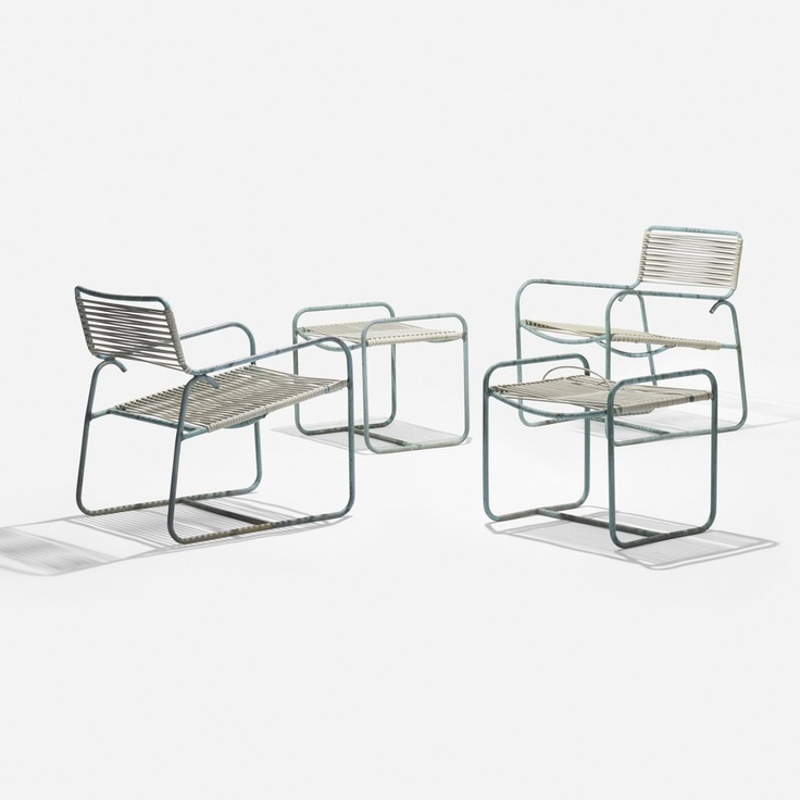 Walter Lamb pair of lounge chairs C-5700 with ottomans C-5706, Brown Jordan, USA 1852, Bronze tubing, plastic cording, 24w x 28d x 31 h