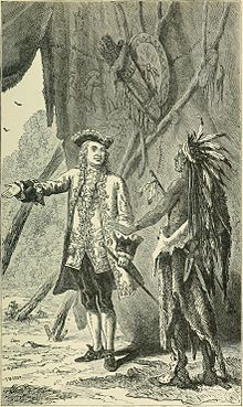 Sir William Johnson, 1st Baronet, negotiating with a Mohawk Chief. History of the city of New York, 1896.