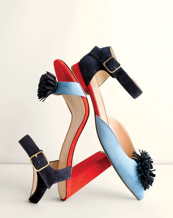 J.Crew women's colorblock sandals with pom-poms and colorblock stacked flats with pom-poms.
