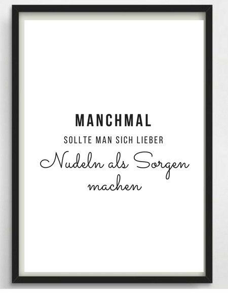 Digitaldruck – Poster A4 Nudeln für Küche oder a…