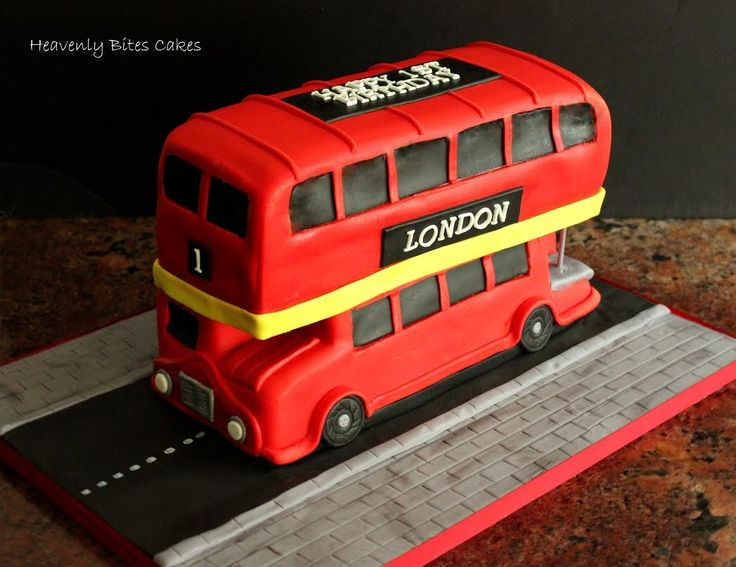 Double Decker London Bus - Happy 1st Birthday to Baby London! :) http://www.heavenlybitescakes.com http://www.facebook.com/heavenlybitescakes