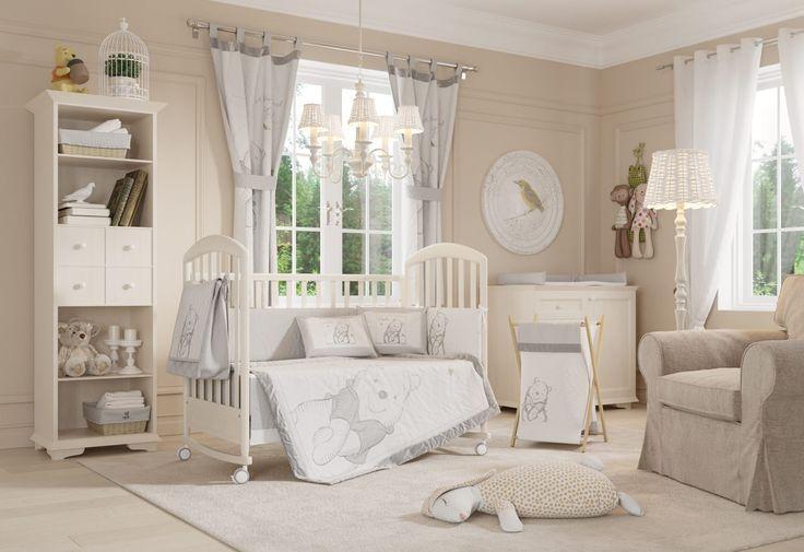 Disney Gray Winnie the Pooh Crib Bedding Collection 4 Pc Crib Bedding Set